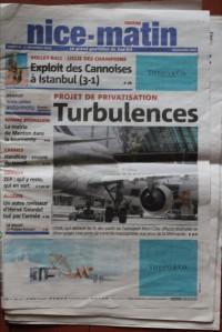 Depuis le 1er décembre, Nice-Matin dispose d'une nouvelle une. Crédit : L.M