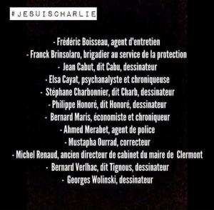 Voici le nom des 12 victimes de l'attentat de Charlie Hebdo (Crédit photo: D.R)