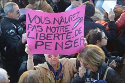 Les messages des citoyens sont clairs. Cette dame se bat pour la liberté de penser. (Crédit photo : Jérémy Satis)
