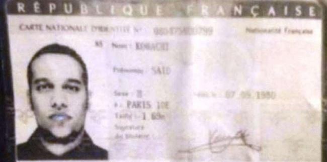 La carte d'identité de Saïd Kouachi a été retrouvée par la police dans la voiture abandonnée par les suspects dans le 19ème arrondissement.