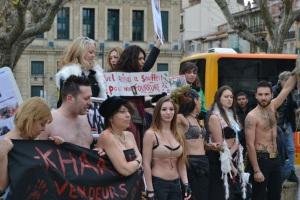 Les organisateurs et participants à la manifestation anti-fourrure place de l'hêtel de ville à Cannes. Crédit photo: Camille Maleysson.
