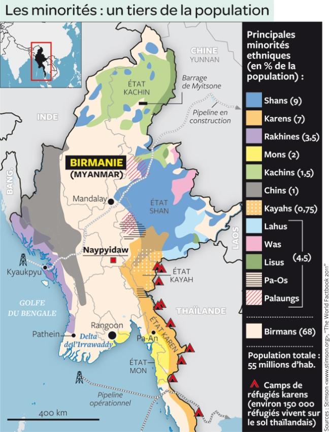La Birmanie, mosaïque ethnique et véritable poudrière (crédit Photo : Stimson, the Worldfactbook 2011)