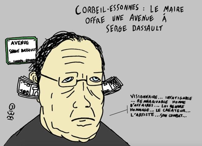 On baptise généralement les voies publiques du nom de grands hommes après leur mort. A Corbeil-Essonnes, Serge Dassault est déjà un grand homme, de son vivant. Crédit : Grégoire Bosc-Bierne
