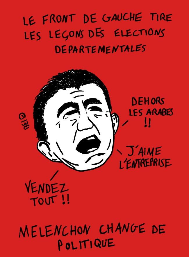 Le Front de Gauche tire les leçons des élections départementales. Dessin : Grégoire Bosc-Bierne