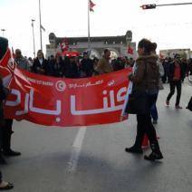 «Nous sommes le Bardo». Le slogan du 7 janvier est repris dans les rues de Tunis (crédit photo: elodieauffray sur Twitter)