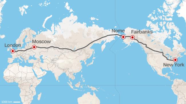 Le voyage Londres-New York en autoroute, le projet fou de Vladimir Yakunin. Crédit photo : CNN.com