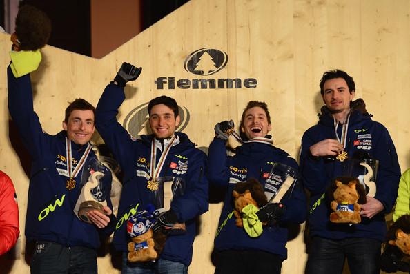L'équipe de France de combiné nordique championne du monde en 2013 avec François Braud, Jason Lamy-Chappuis, Maxime Laheurte et Sébastien Lacroix. Crédit Photo: Mike Hewitt/Getty Images Europe