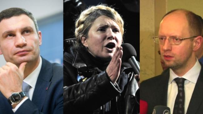 De gauche à droite, Vitali Klitschko, Ioula Timochenko et Arseni Iatseniouk, les trois leaders de l'opposition au gouvernement Ianoukovitch. Montage BFMTV