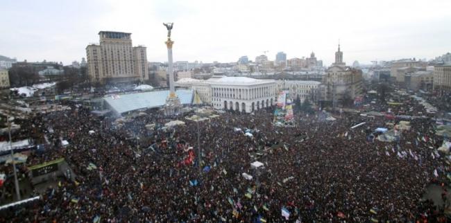 La place de l'Indépendance, plus connue sous le nom Maïdan, comble d'opposants pro-européens le 15 décembre 2013. Crédit Photo : AFP Photo / Sergey Gapon