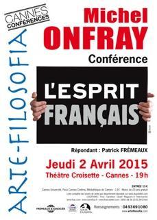 L'affiche de la conférence de Michel Onfray à Cannes