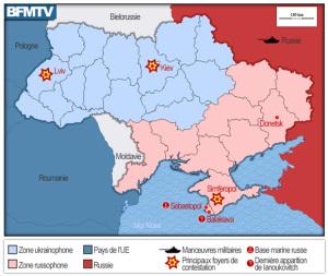 Est représentée en rose la partie russophone de l'Ukraine, et à l'ouest la population ukrainophone, en bleu. Crédit Photo : BFMTV