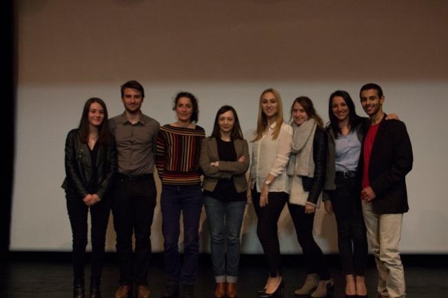 L'équipe de Bobine & Clap en compagnie de l'ingénieur son du film, Maissoun Zeineddine (3ème en partant de la gauche), et de Karin Ramette (4ème en partant de la gauche) de l'ACID. Crédit Photo: Lhadi Messaouden