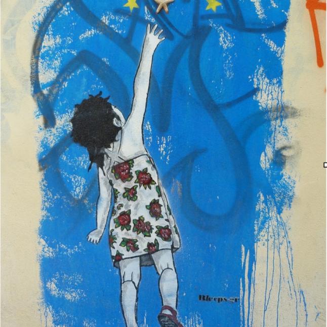 «Les étoiles et les étoiles de mer» exprime la volonté d'une Europe différente à travers l'innocence de l'enfance (crédit photo: G. Nikolakopoulos, dessin: Bleeps)