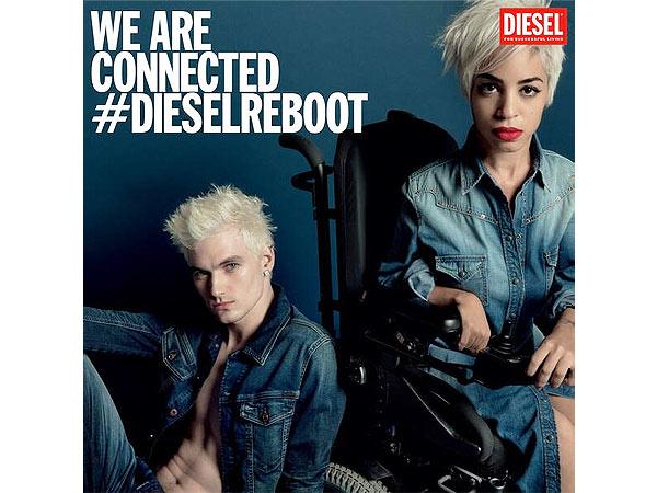 Jillian Mercado pose pour la marque Diesel. (Crédit photo: people.com)