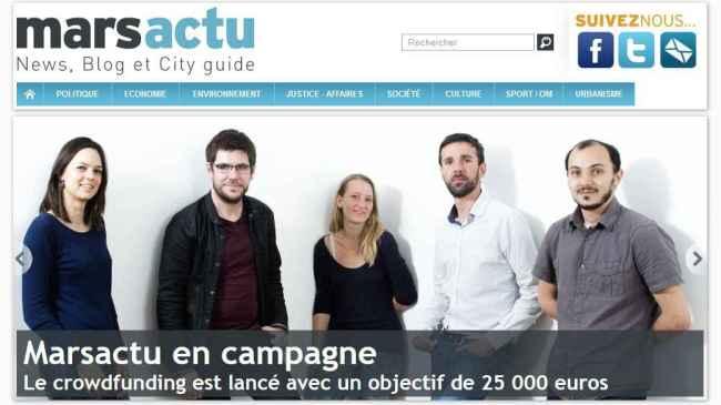 En 48 h, plus de 15 000 euros de contributions ont été versées, soit 60 % de l'objectif. Crédit photo : capture écran : fr.ulule.com/marsactu