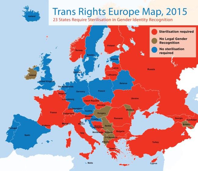 Les pays où les personnes transgenres sont légalement reconnues et protégées de la discrimination en Europe. (Crédit : Transgender Europe)