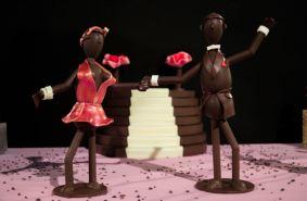 Deux figurines en chocolat de la boutique Xocoalt (Crédit photo : Cyrille Ardaud)