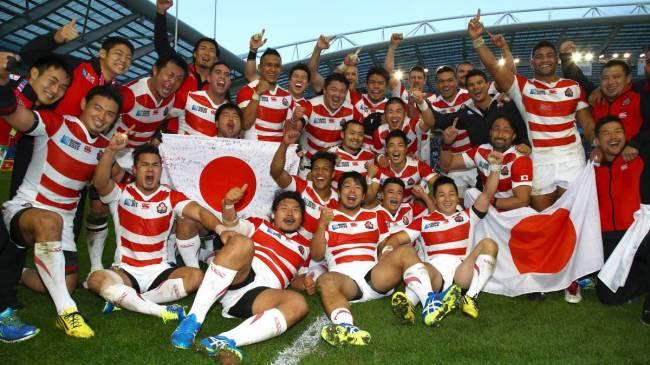 Les Japonais, après leur victoire historique face à l'Afrique du Sud (34-32) (Crédit photo : dailyadvertiser.com)