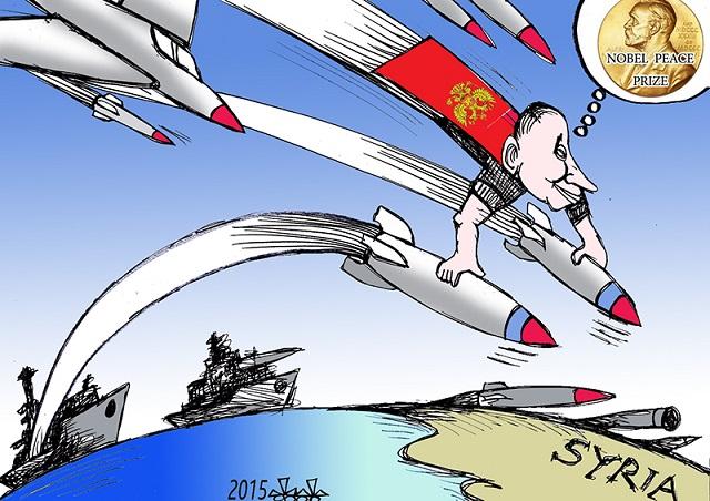 Certains s'amusent à imaginer le président russe Vladimir Poutine dans la peau du futur lauréat. (Crédit : Dessin de Bleibel)