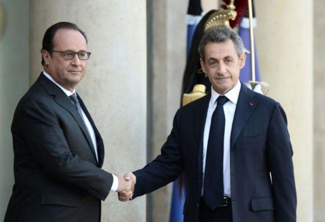 Aujourd'hui à l'Elysée, François Hollande et Nicolas Sarkozy ont abordé le maintien de la Cop 21 (Crédit photo : Stéphane De Sakutin/AFP).
