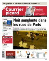 Photo morbide à la Une du Courrier picard où on peut voir quatre corps drapés. (Crédit: courrier-picard.fr)
