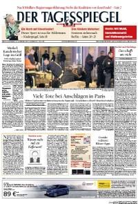 Le Der Tagesspiegel de samedi parle lui aussi des attentats de Paris avec cette photo des équipes de secours qui interviennent. (Crédit: paperboy.com)