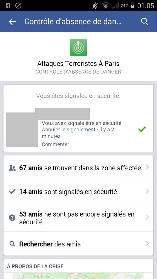 (crédit photo : capture d'écran du « contrôle d'absence » mis en place par facebook (via @LesNews)