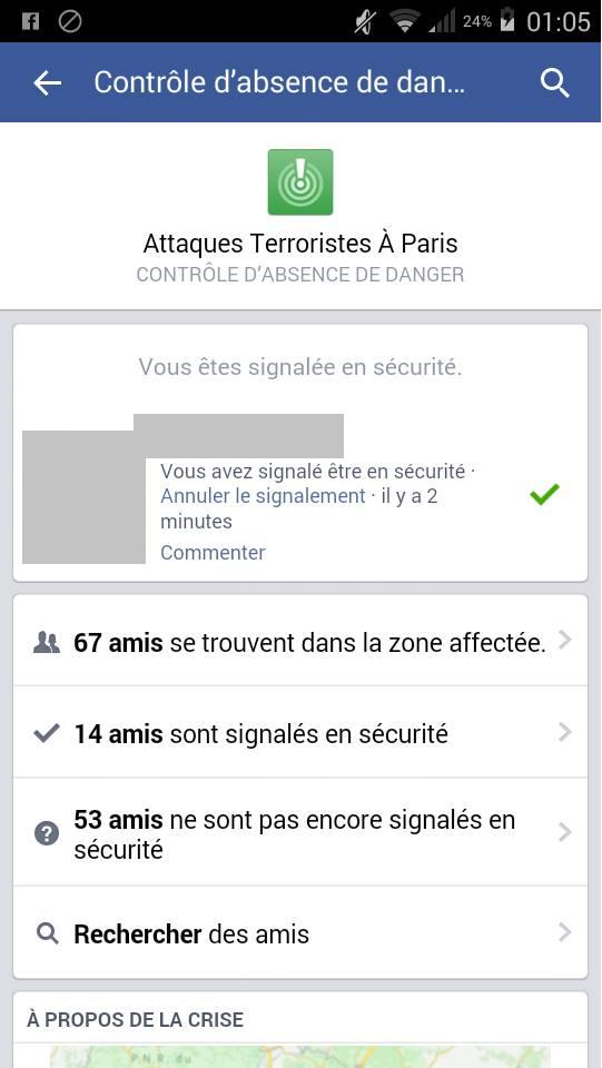 (crédit photo: capture d'écran du «contrôle d'absence» mis en place par facebook (via @LesNews)
