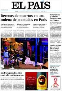 """""""Des dizaines de morts dans une série d'attentats à Paris"""" explique El Pais, grand quotidien espagnol. (Crédit: elpais.com)"""