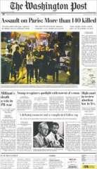 """Le Washington Post parle """"d'assaut"""" et de 140 morts dans sa Une du samedi 14 novembre. (Crédit: paperboy.com)"""