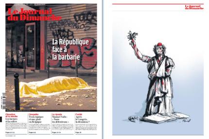 Une morbide pour Le Journal du dimanche : « La République face à la barbarie ». On peut y voir un corps drapé abandonné en pleine rue, en plein Paris. (Crédit : lejdd.fr)