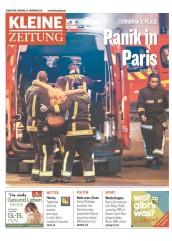 « Panique à Paris » titre le journal autrichien Kleine Zeitung qui y consacre sa une et ses deux premières pages. (Crédit : paperboy.com)