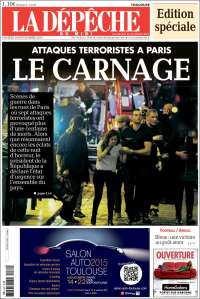 """La dépêche utilise les termes """"d'attaques terroristes"""" pour sa Une du samedi. (Crédit : ladepeche.fr)"""