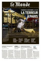 Dimanche 15 novembre, Le Monde place en Une la photo de l'évacuation d'un corps. (Crédit : lemonde.fr)