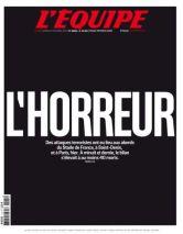 « Black screen » pour l'Equipe de samedi qui titre « l'horreur ». (Crédit : lequipe.fr)
