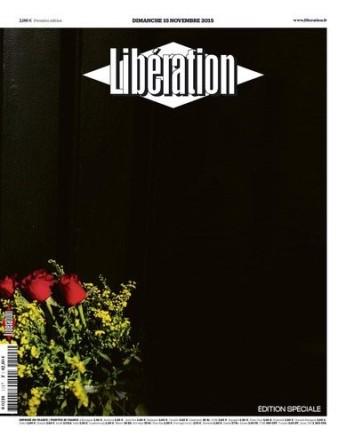 Libération n'a pas de mot et signe une page noire avec quelques roses rouges. (Crédit : liberation.fr)