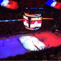 Aux Etats-Unis, la solidarité a brillé lors d'un match de hockey à la patinoire de l'équipe des Washington Capitals. (Crédit photo : Twitter/MaximeGueny)
