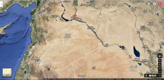 Raqqa a été la première ville d'importance prise par l'Etat islamique. (Crédit: Google map)