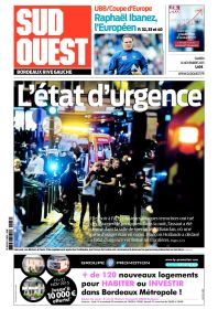 Sud-Ouest met l'accent sur le décret d'état d'urgence. (Crédit : sudouest.fr)