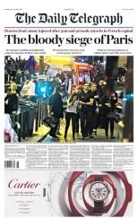 The Daily Telegraph (Royaume-Uni le 14/11/2015) - « Le sanglant siège de Paris » publie le quotidien anglais qui y consacre sa Une, le journal britannique annonce également l'état d'urgence décrété par le Président Hollande. (Crédit : paperboy.com)