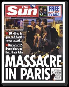 The Sun (Royaume-Uni, le 14/11/2015) - « Massacre à Paris » en une du tabloïde londonien. « Quelques jours après le tir de drone américain qui a tué Jihadi John », le quotidien anglais rappelle la mort du jihadiste britannique, l'un des bourreaux de l'EI célèbre pour ses décapitations. (Crédit : thepaperboy.com)