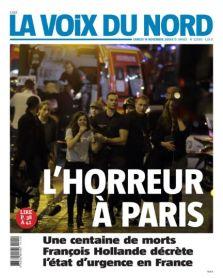 La voix du nord place en Une les forces de l'ordre et une civile, dépassés par « l'horreur à Paris ». (Crédit : lavoixdunord.fr)