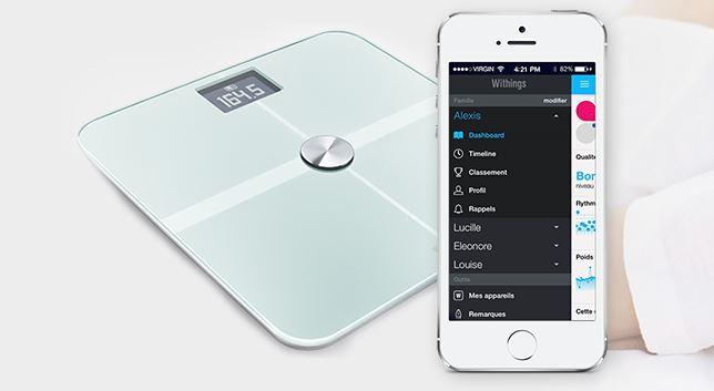 Cette balance, développée par Withings vous permet de suivre depuis votre smartphone votre poids, masse graisseuse... (Crédit Photo : electroguide.com)