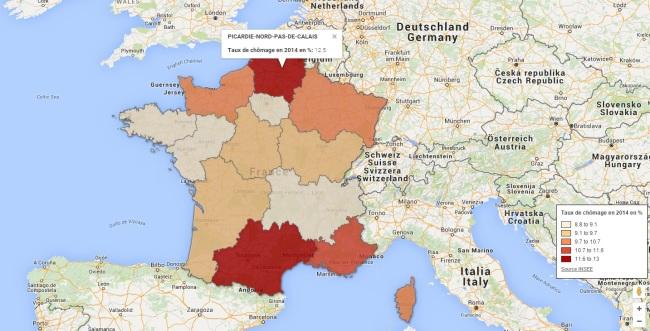 Le chômage dans les nouvelles régions. (Crédit photo : capture Google Map)