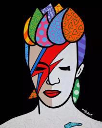 Fond noir, mais visage coloré. David Bowie représentait une ère de la musique dorénavant révolue (Crédit: Facebook/Davide Palmaghini).