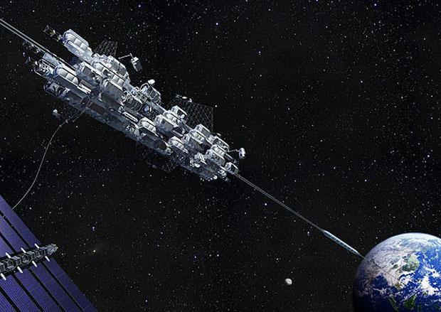 Monter dans l'espace grâce à un ascenseur n'est encore qu'un projet fou mais pourrait prendre consistance avec les propriétés incroyables du graphène. Crédit: Obayashi Corporation of Tokyo