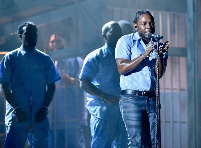 Légende: Kendrick Lamar a enflammé la soirée des Grammy (Crédit photo: Kevork Djansezian/Getty Images)