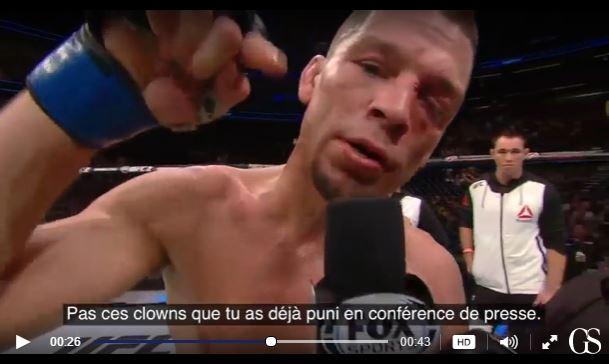 Nate Diaz provoque Conor McGregor à l'issue de son dernier combat.Cliquer sur la photopour voir la vidéo