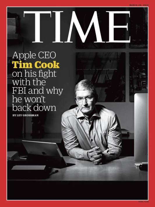 Le très reconnu TIME Magazine a consacré la Une de son numéro du 28 mars à Tim Cook. (Crédit: TIME)