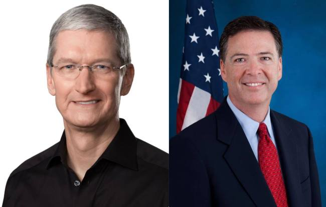 Tim Cook, PDG d'Apple (Image Apple) À droite : James Comey, directeur du FBI (Image FBI)